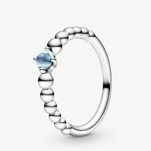 Pandora March Aqua Blue Beaded Ring